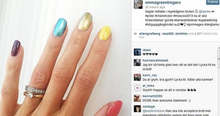 Emma skapade ramaskri över hela världen genom att lägga upp regnbågsfärgade naglar som en tyst protest mot Rysslands nya stränga antigaylagar.