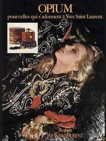 Jerry Hall för Opium 1977