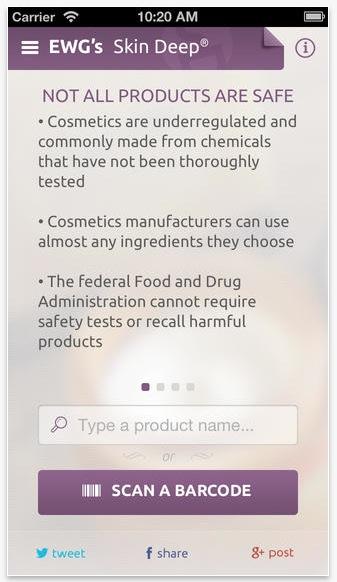 Lägg in namnet på produkten eller scanna in barcoden och ni får fram en rating på hur safe produkten är. Finns för iPhone och Android