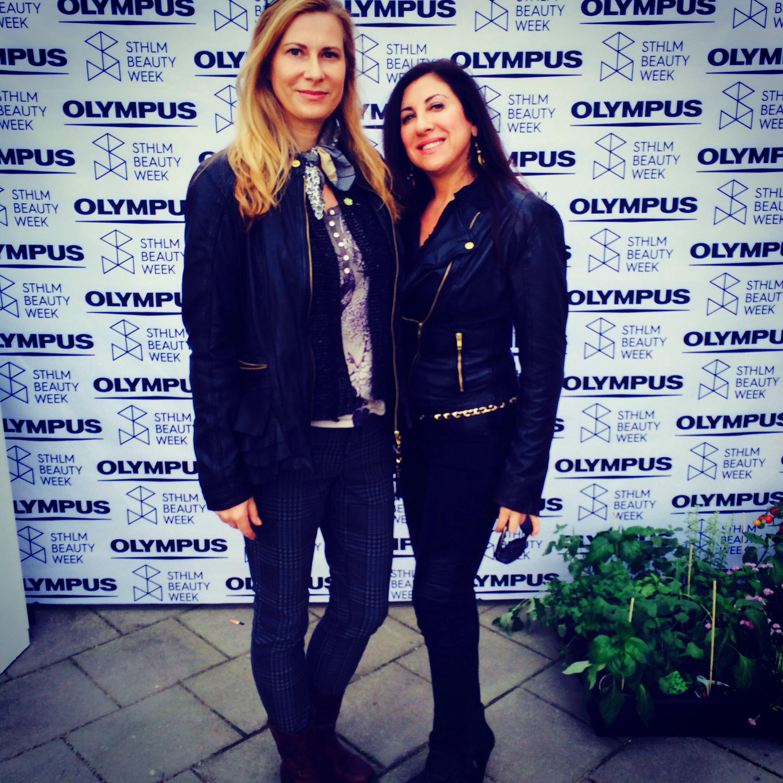 Jag och Graziella Ronlan på invigningsfesten på Stockgolm Beauty Week 2014. Graziella har märket Transderma