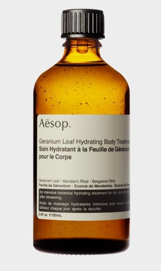 Kroppsoljan Geranium Leaf Hydrating Body Treatment är en av mina favoriter ur Aesops sortiment.