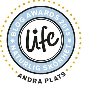 """Vi slutade tvåa i Life blog Awards 2015 där vi var nominerade i kategorin """"bästa naturliga skönhetsblogg"""""""