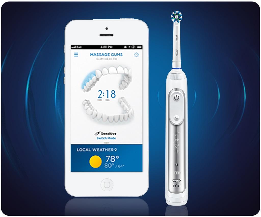 Oral B Genius 9000 har trycksensorer och ska enlit tillverkaren ta bort 100 % mer plack än vanlig manuell tandborstning.
