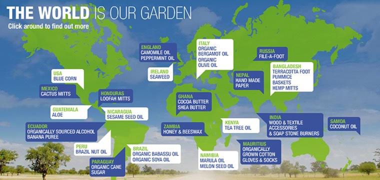 The Body Shops olika leverantörer inom Fairtrade-ramarna
