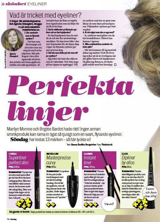 I senaste numret av Aftonbladet Söndag tipsar jag om hur du lyckas med att applicera din eyeliner.