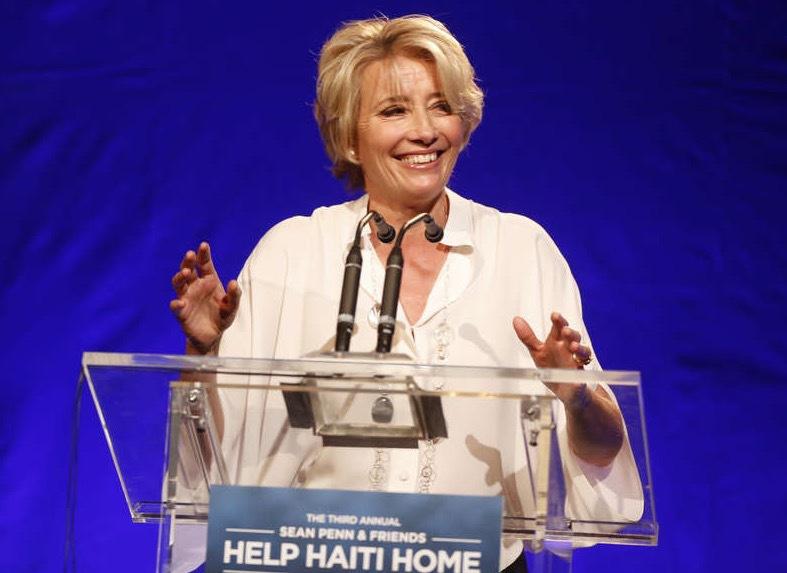 Emma Thompson har tagit ställning förut. Här talar hon för offren i den svåra jordbävningen i Haiti 2010. Foto: AP
