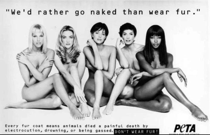 Faksimil ur The Sun på PETAS reklam där fem supermodeller säger nej till att bära päls.